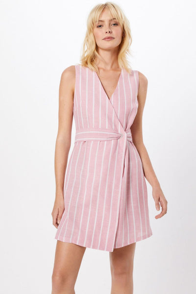 Glamorous Pink Striped Cotton Dress - Troublemaker.gr