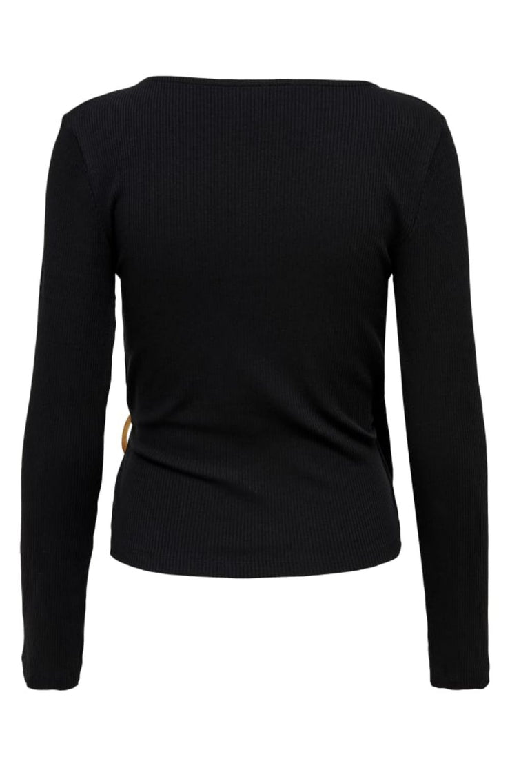 Only Hannah Black Jersey Wrap Top - Troublemaker.gr