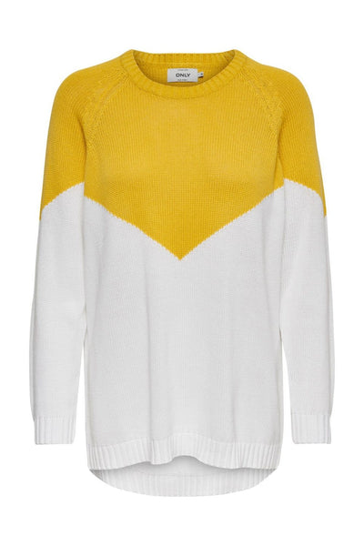 Only Sara Yellow/White Pullover Knit - Troublemaker.gr