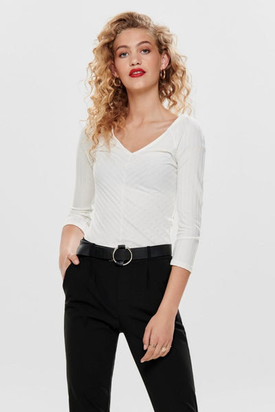 Only Gina White 3/4 V-Neck Top - Troublemaker.gr