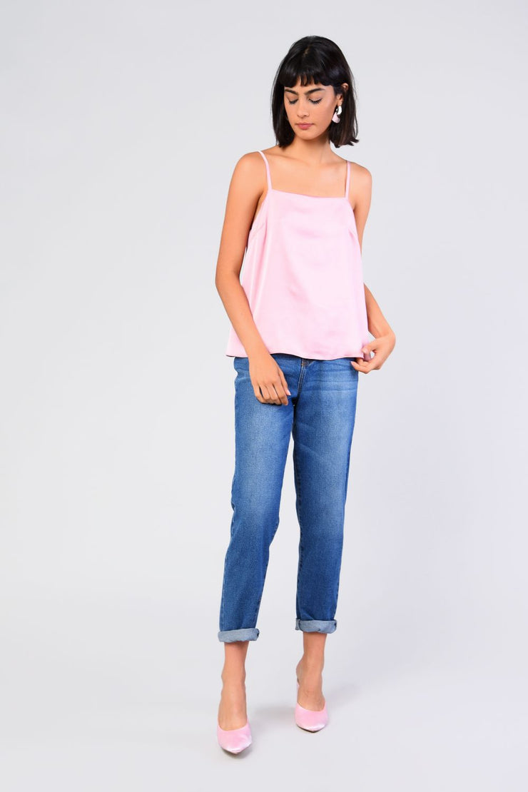 Glamorous Pink Satin Top - Troublemaker.gr