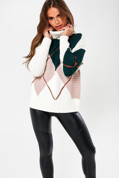 Only Rose Harlequin Pullover Knit