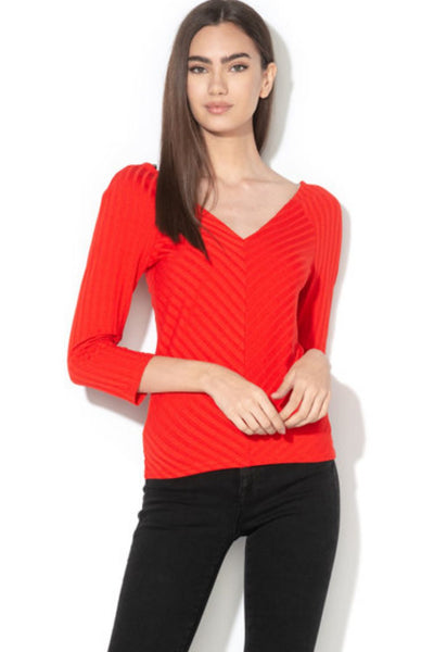 Only Gina Red 3/4 V-Neck Top - Troublemaker.gr