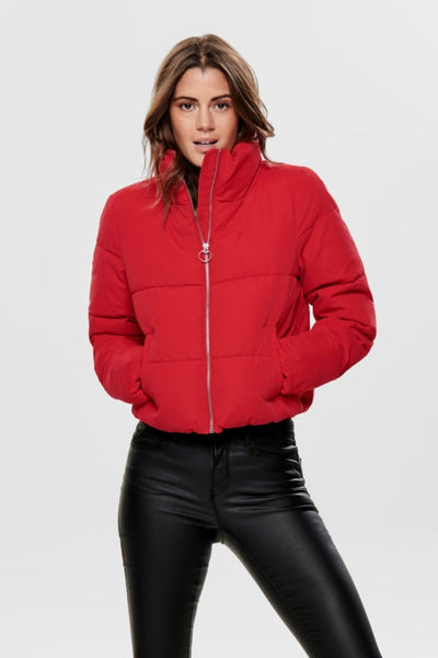Dina Red Short Puffer Jacket - Troublemaker.gr