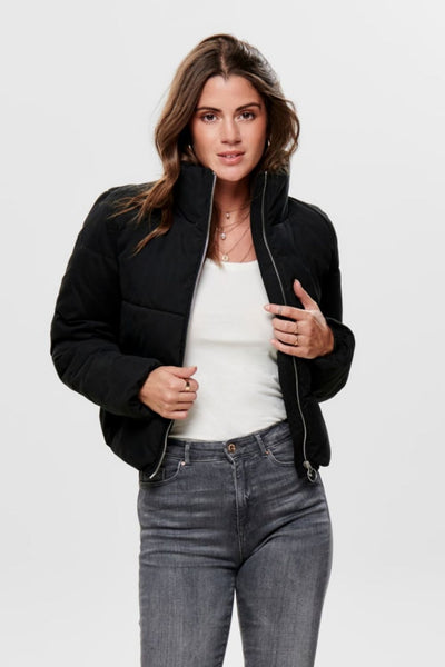 Dina Black Short Puffer Jacket - Troublemaker.gr