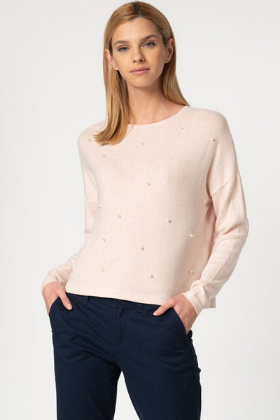 Only Maye Baby Pink Pearl Pullover Knit - Troublemaker.gr