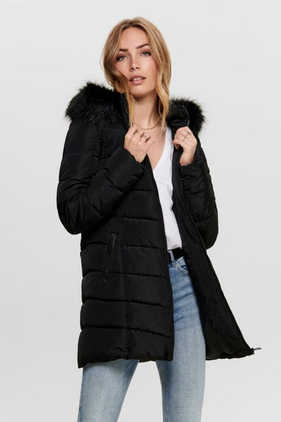Only Minea Quilted Fur Hood Coat - Troublemaker.gr