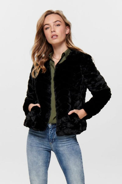 Only Laura Black Faux Fur Jacket