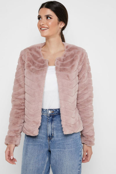 Only Laura Rose Faux Fur Jacket - Troublemaker.gr