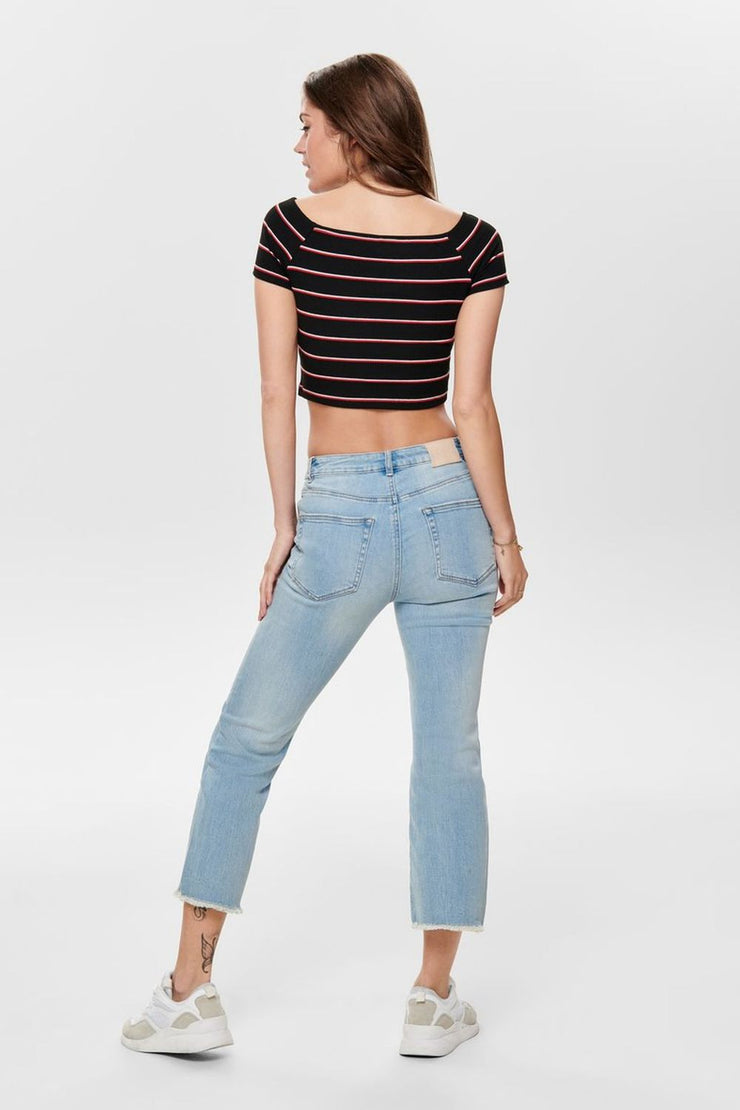 Only Black Striped Crop Top - Troublemaker.gr