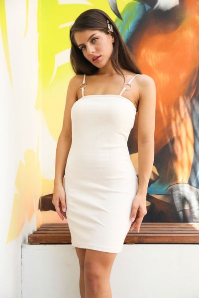 Glamorous Cream Ring Detail Dress - Troublemaker.gr