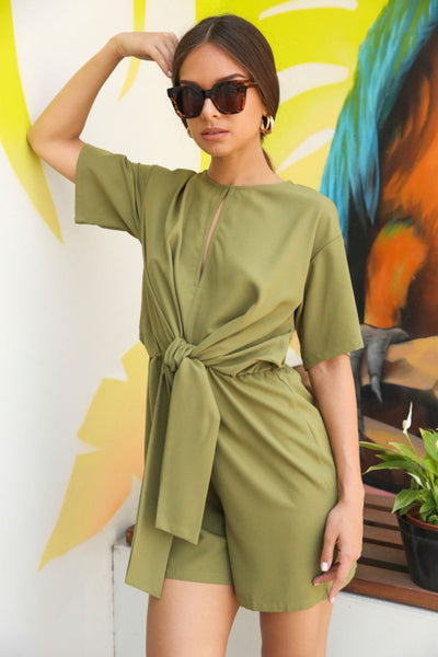 Glamorous Olive Tie Front Playsuit