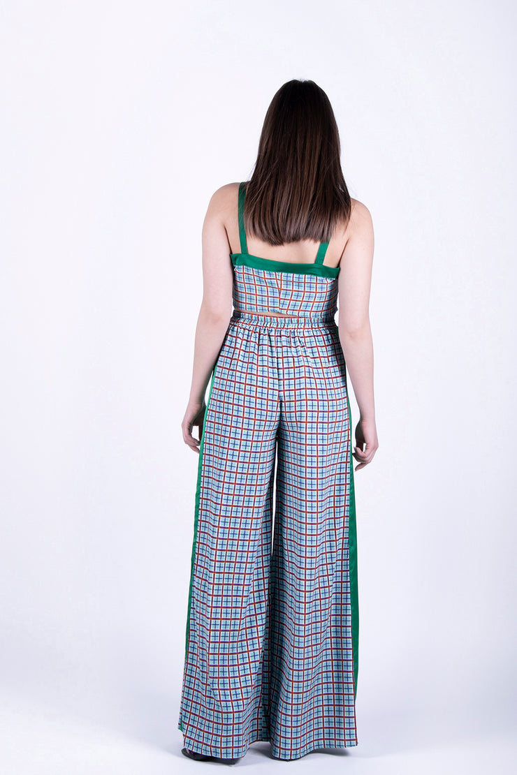 Glamorous Green Checked Crop Top - Troublemaker.gr