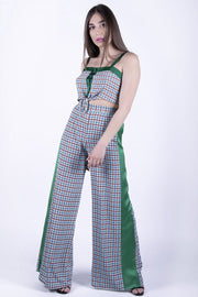 Glamorous Green Checked Wide Leg Trousers - Troublemaker.gr