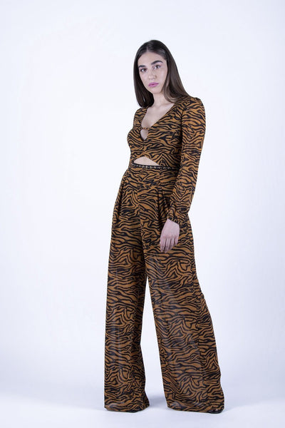 Glamorous Tiger Print Cut Out Jumpsuit - Troublemaker.gr