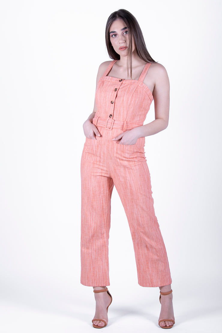 Glamorous Orange Textured Jumpsuit - Troublemaker.gr