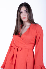 Glamorous Orange Flute Sleeve Wrap Front Dress - Troublemaker.gr
