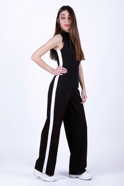 Black High Neck Jumpsuit With White Detail - Troublemaker.gr