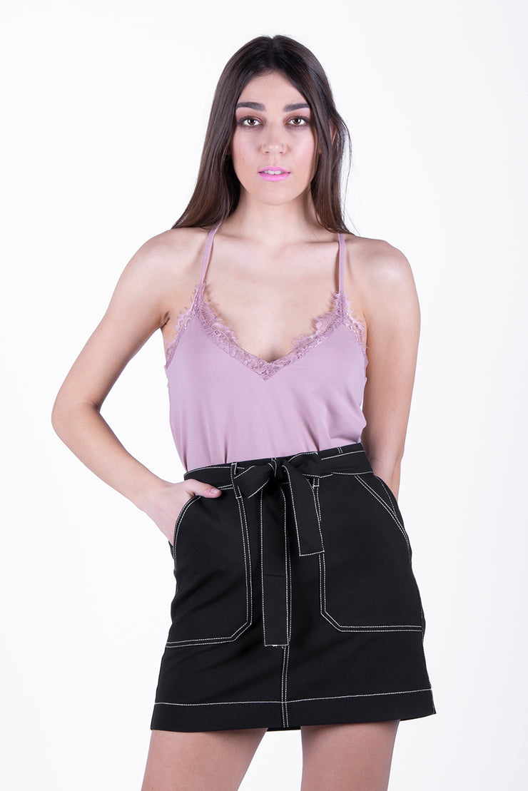 Only Black Contrasting Stitch Belted Skirt - Troublemaker.gr