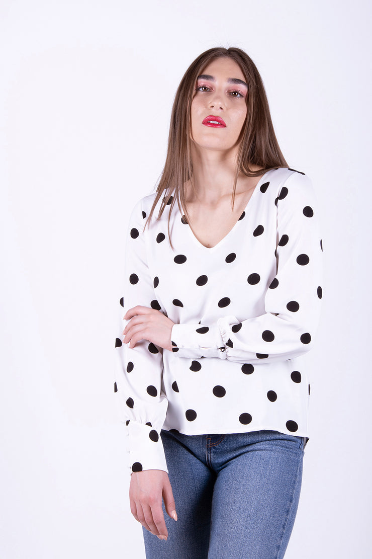 Only Uma Polka Dot Loose Long Sleeved Top - Troublemaker.gr