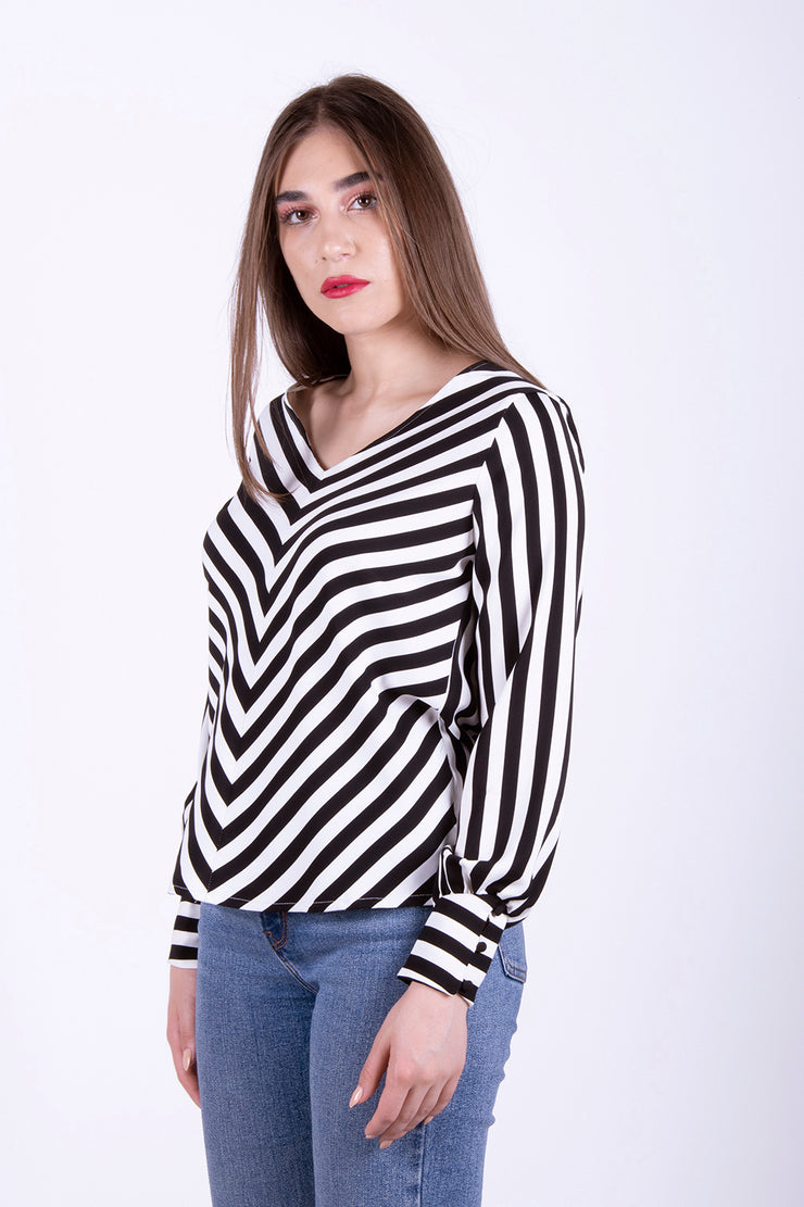 Only Uma Striped Loose Long Sleeved Top - Troublemaker.gr