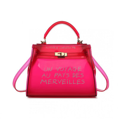 Pink Transparent Plastic Handbag - Troublemaker.gr
