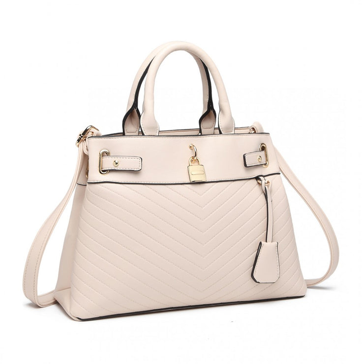 Pink Padlock Chevron Leather Look Shoulder Bag