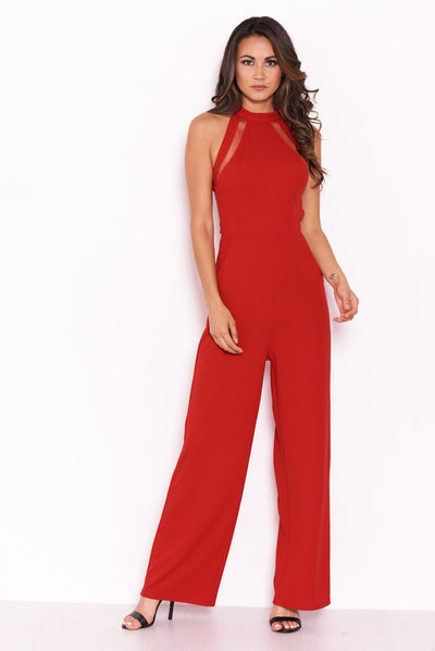 Red Sheer Paneled Jumpsuit With Cut Out Back - Troublemaker.gr