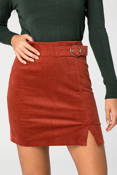 Rust Corduroy Belted Skirt - Troublemaker.gr