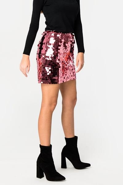 Pink Sequin Skirt - Troublemaker.gr