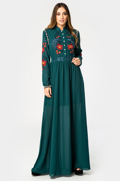 Glamorous Dark Green Embroidered Maxi Dress - Troublemaker.gr
