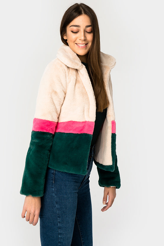 Cream And Green Faux Fur Jacket - Troublemaker.gr