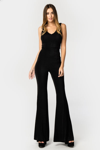 Black Glitter Bell Bottom Jumpsuit - Troublemaker.gr