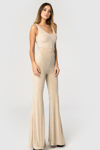 Gold Glitter Bell Bottom Jumpsuit - Troublemaker.gr