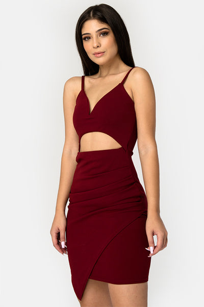 Red Asymmetric Bodycon Mini Dress - Troublemaker.gr