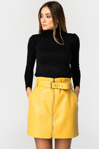 Yellow Pu Belted Mini Skirt - Troublemaker.gr