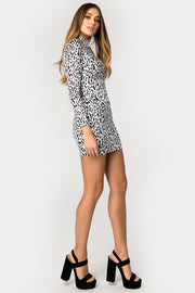 Leopard Velvet High Neck Mini Dress - Troublemaker.gr