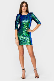 Emerald Green Two Tone Sequin Dress - Troublemaker.gr