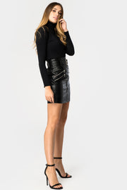 Glamorous Black Belted PU Zip Detail Skirt - Troublemaker.gr