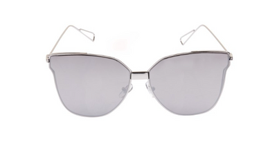 South Beach Silver Cat Eye Flat Lens Sunglasses - Troublemaker.gr