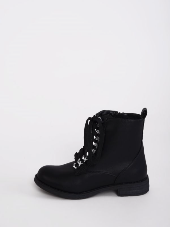 Glamorous Black Chain Detailed Army Boots - Troublemaker.gr