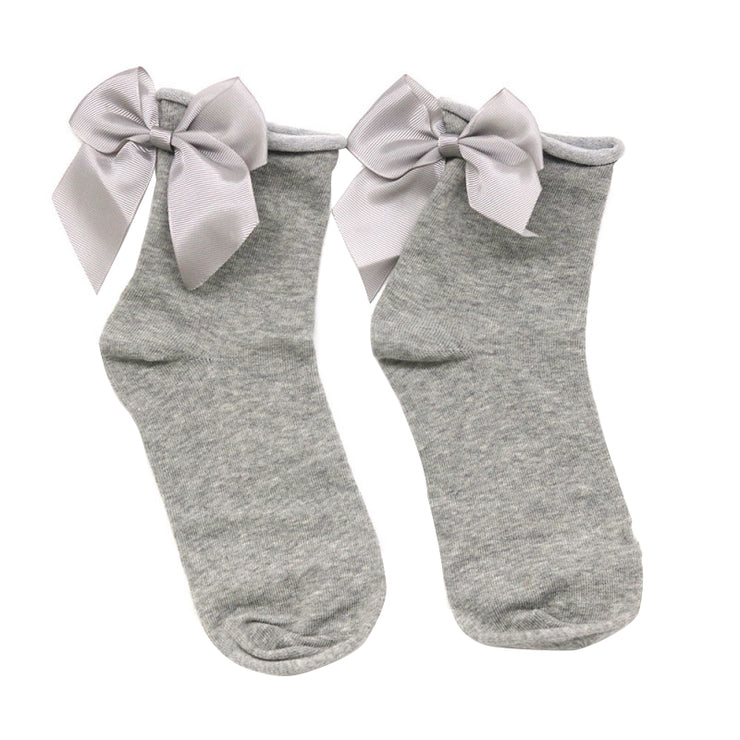 Grey Cute Bow Socks - Troublemaker.gr