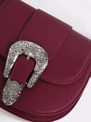 Burgundy Western Buckle Cross Body Bag - Troublemaker.gr