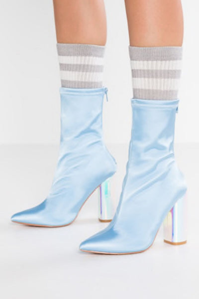 Glamorous Blue Satin Metallic Heel Boots - Troublemaker.gr