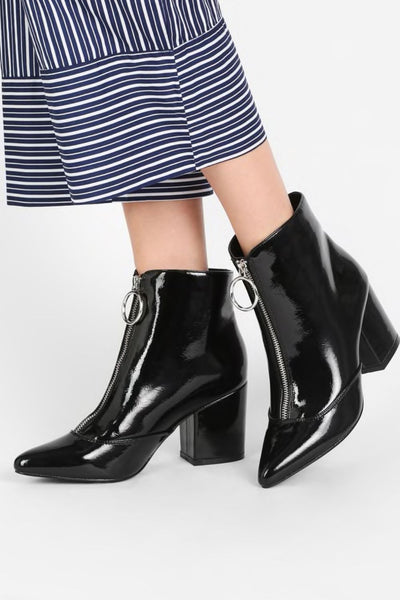 Glamorous Black Heeled Ankle Boots - Troublemaker.gr