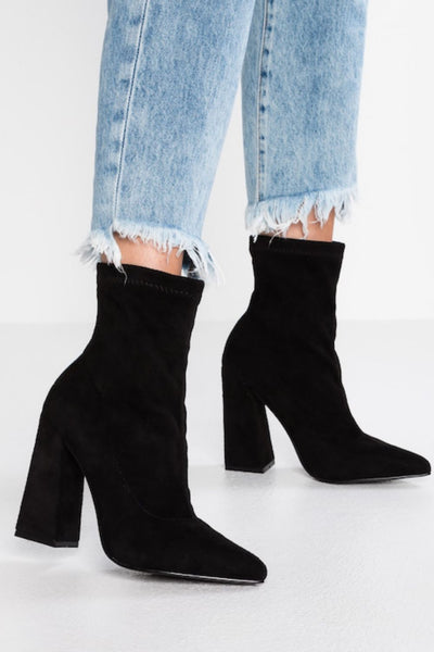 Glamorous Black Faux Suede Square Heel Ankle Boots - Troublemaker.gr