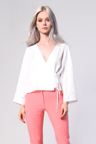 Glamorous White Satin Wrap Front Blouse - Troublemaker.gr