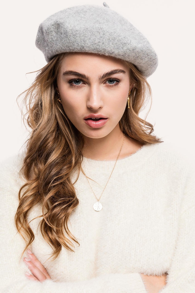 Grey Wool Beret - Troublemaker.gr
