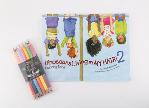 """Dinosaurs Living in My Hair2"" Companion Coloring Book Set w/Colored Pencils"