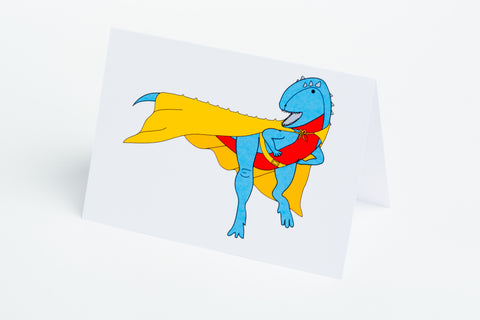 Super Hero Dinosaur Note Card